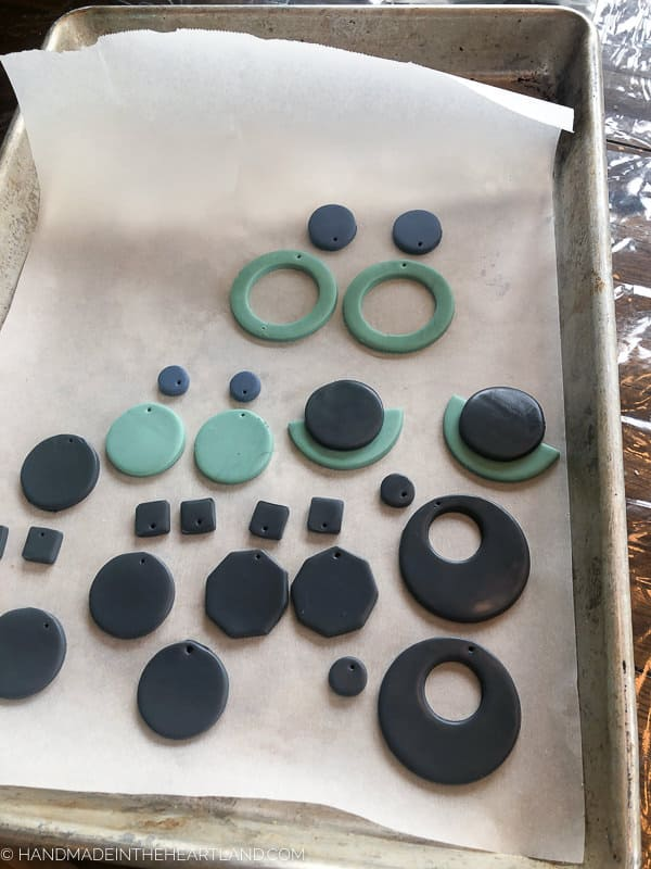 polymer clay earrings about to be baked