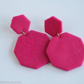 bright pink clay hexagon earrings