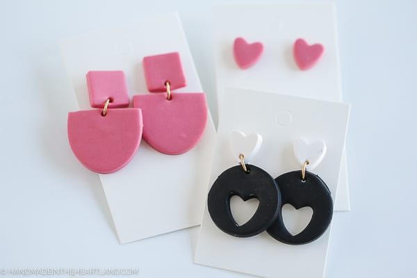 handmade polymer clay earrings on earring cards