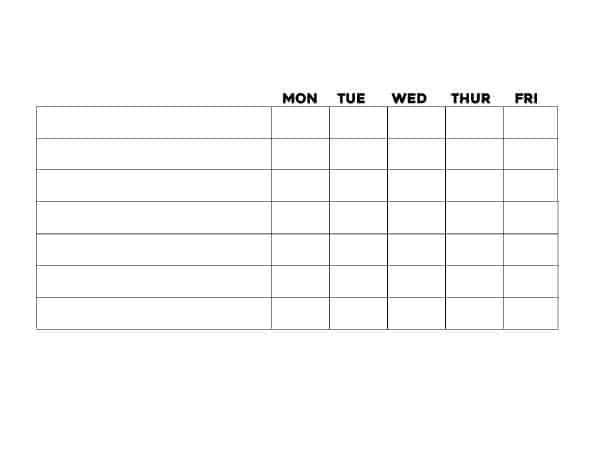Free printable blank chore chart