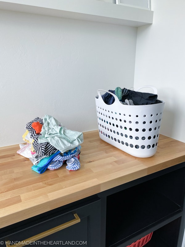 laundry system for kids to do with their chores.