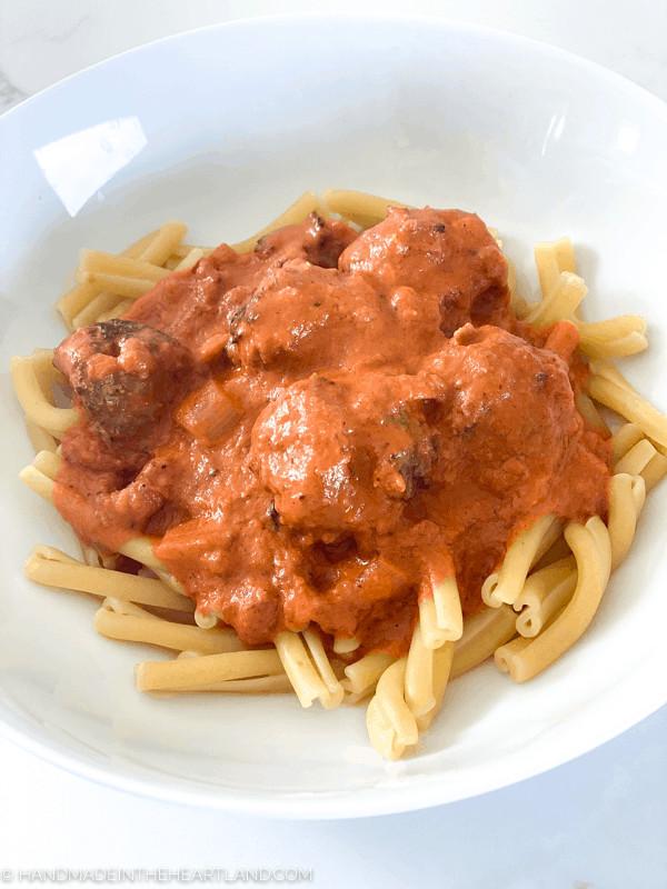 Sausage meatball pasta bake with vodka sauce
