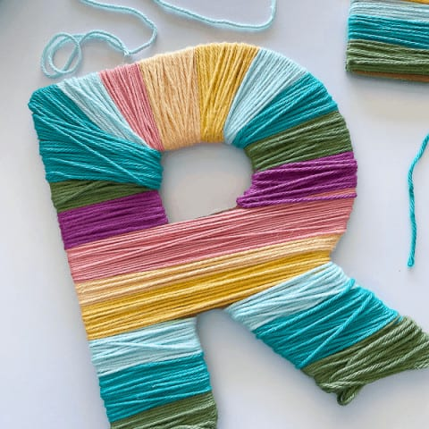 Chipboard Yarn Wrapped Letters