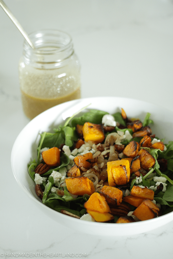 Butternut squash salad with maple dijon dressing. A perfect healthy homemade meal