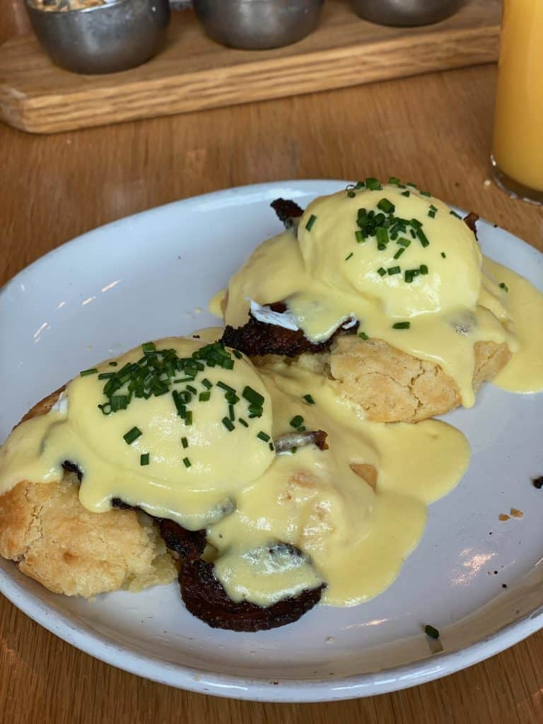 Eggs Benedict at Magnolia Table in Waco Texas