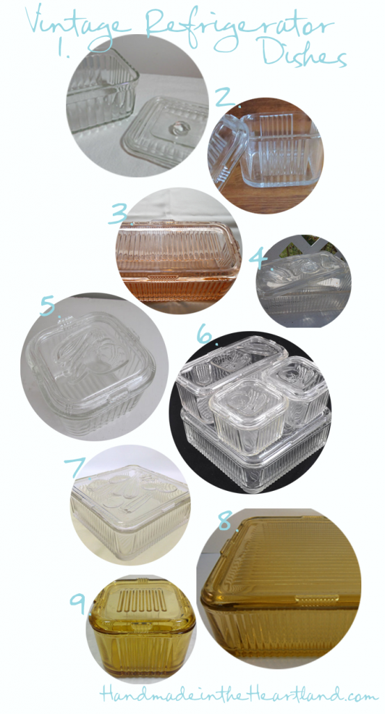 Different styles of federal glass refrigerator dishes