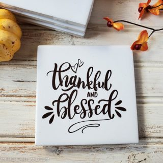 thankful and blessed diy thanksgiving coasters