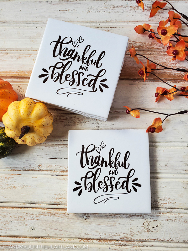 thankful and blessed diy ceramic tile coasters