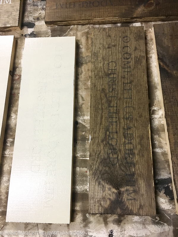 staining wood boards to make weathered wood sign