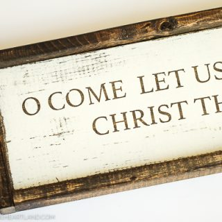 Christmas wood sign with stained wood lettering