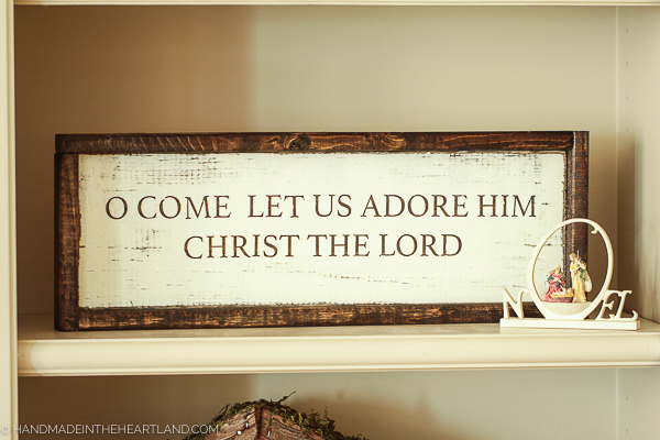 O come let us adore him wood Christmas sign DIY