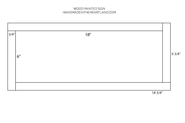 diagram of plans for how to make a wood sign, dimensions for each piece of wood for frame