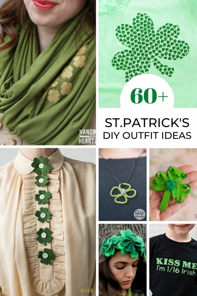 collage image of diy outfit ideas for St. Patrick's Day