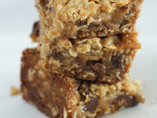3 salty carmelita bars stacked on top of each other
