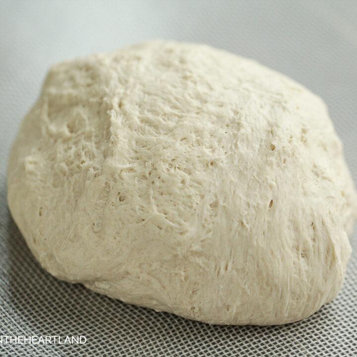 pizza dough ball sitting on nonstick mat