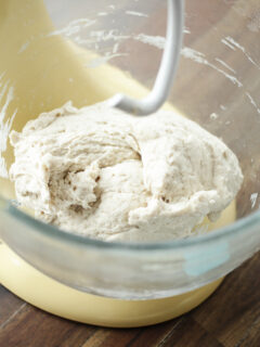 Pizza dough after mixing in stand mixer