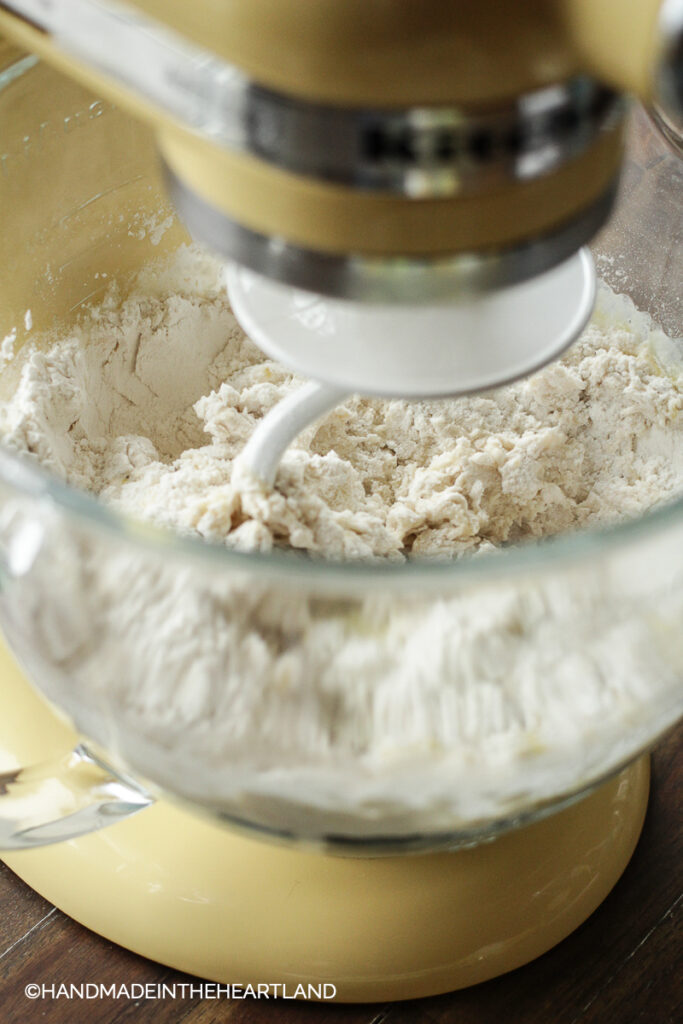 starting to mix pizza dough in a stand mixer