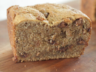 peanut butter chocolate chip banana bread loaf sliced