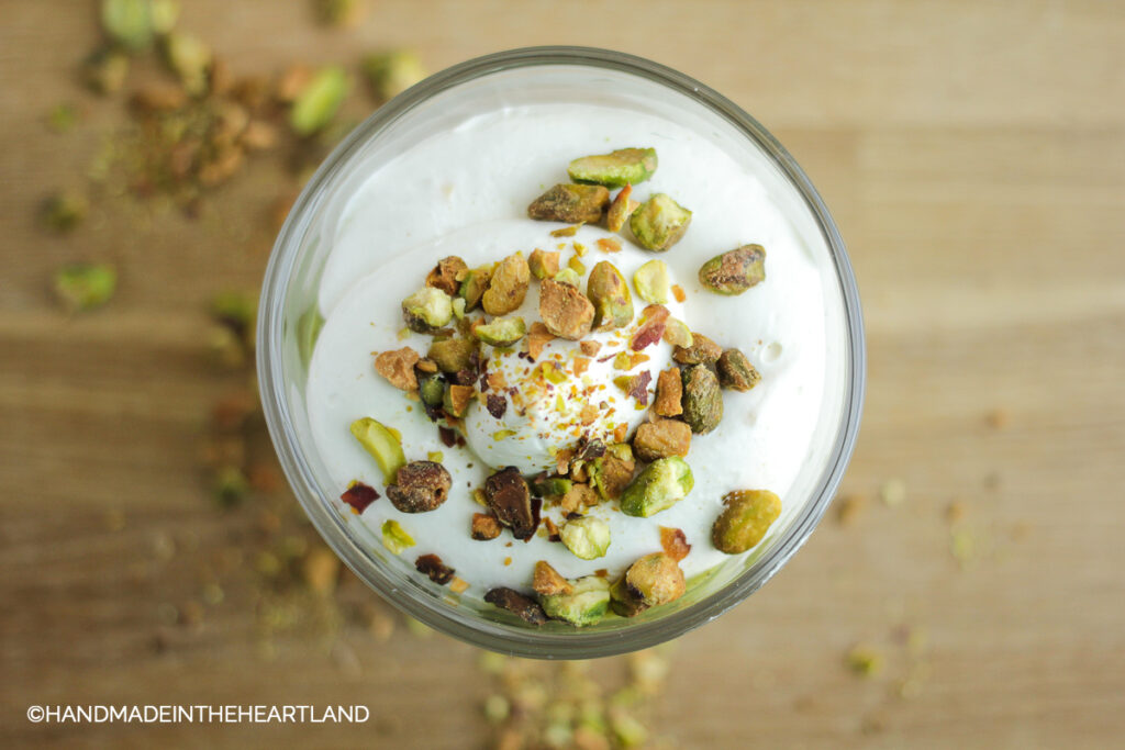 looking at a pistachio pudding parfait from the top