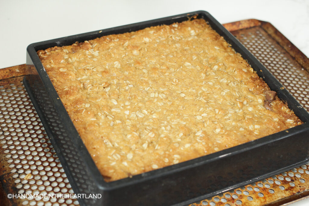 carmelitas out of the oven with golden brown crust