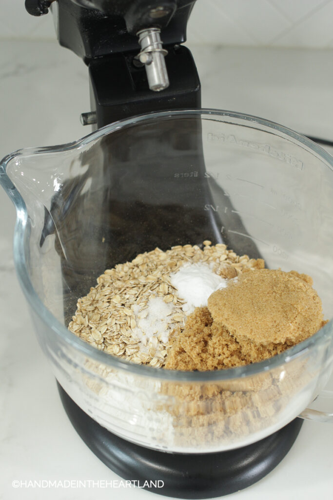 Dry Ingredients for carmlitas in the bowl of a stand mixer