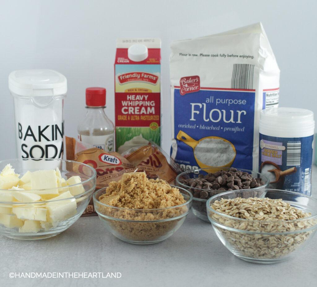 Ingredients for salty carmelitas: baking soda, butter, vanilla, caramels, brown sugar, flour, salt, oats