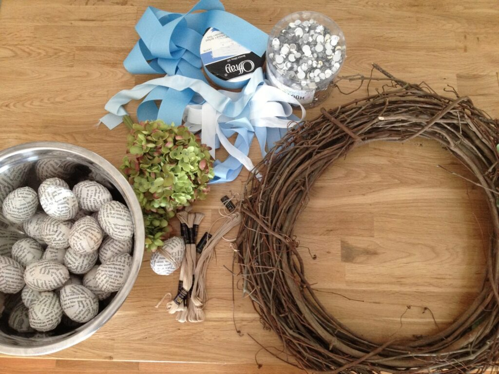 Supplies to make easter egg wreath